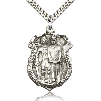 Sterling Silver 1 1/4in St Michael Police Shield and 24in Chain