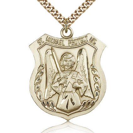 Gold Filled 1 3/8in St Michael the Archangel Medal & 24in Chain