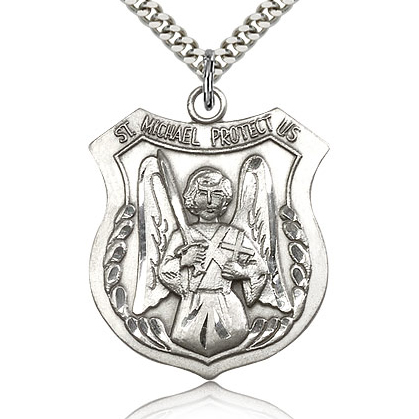 Sterling Silver 1 3/8in St Michael Angel Medal & 24in Chain