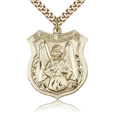 Gold Filled 1in St Michael the Archangel Medal & 24in Chain