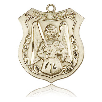 14kt Yellow Gold 1in St Michael the Archangel Medal