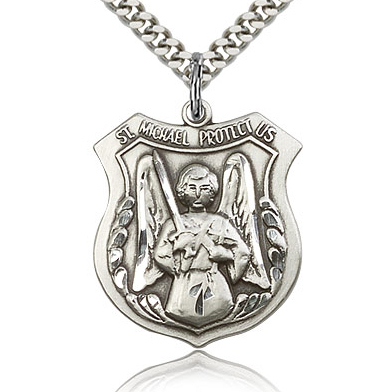 Sterling Silver 1in St Michael Angel Medal & 24in Chain