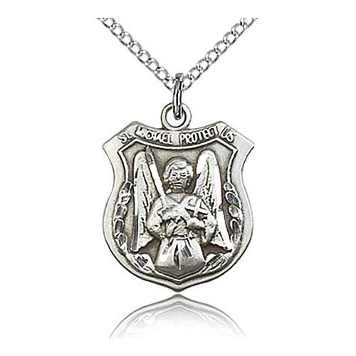 Sterling Silver 3/4in St Michael Archangel Shield & 18in Chain