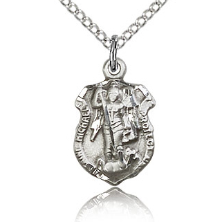 Sterling Silver 5/8in St Michael Shield & 18in Chain