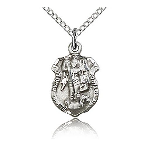 Sterling Silver 5/8in St Michael Shield & 18in Chain