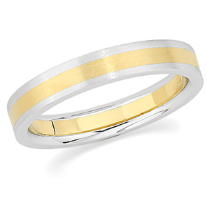18k Yellow Gold and Platinum 4mm Flat Wedding Band