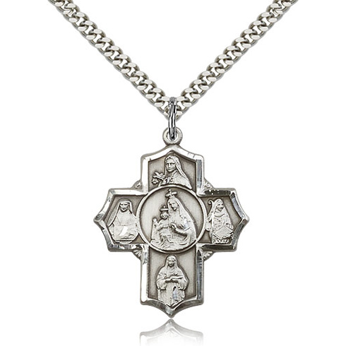 Sterling Silver 1 1/4in Our Lady of Mount Carmel Medal & 24in Chain