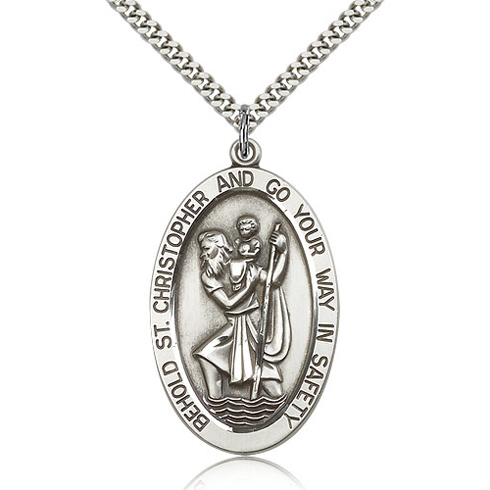 Sterling Silver Jumbo 1 5/8in St Christopher Medal & 24in Chain