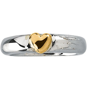 Heart Promise Ring - Sterling Silver and 14k Gold
