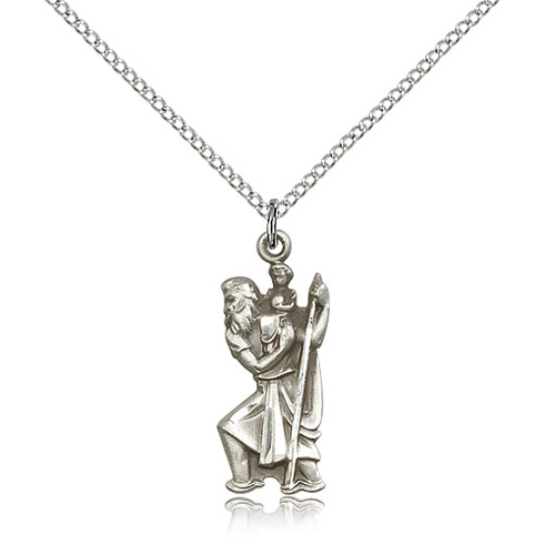 Sterling Silver 7/8in St Christopher Pendant & 18in Chain