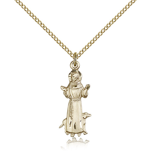 Gold Filled 1in St Francis Pendant & 18in Chain