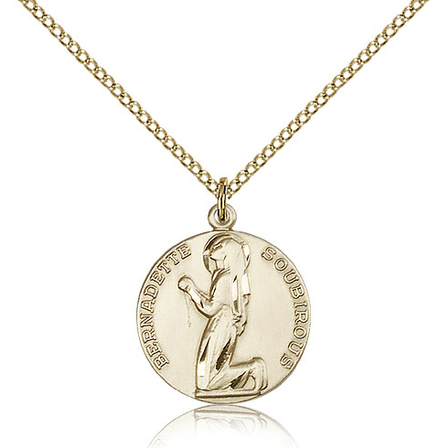 Gold Filled 5/8in Round St Bernadette Medal & 18in Chain