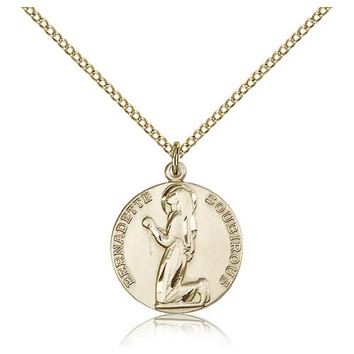 Gold Filled 3/4in St Bernadette Medal & 18in Chain