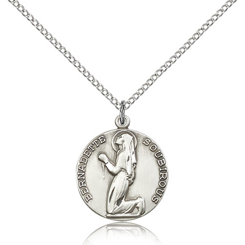 Sterling Silver 5/8in Round St Bernadette Medal & 18in Chain