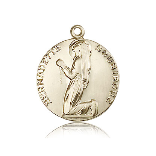 14k Yellow Gold 7/8in Round St Bernadette Medal