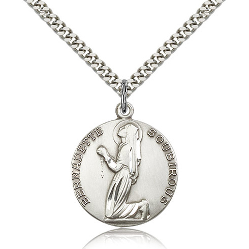 Sterling Silver 1in St Bernadette Medal & 24in Chain