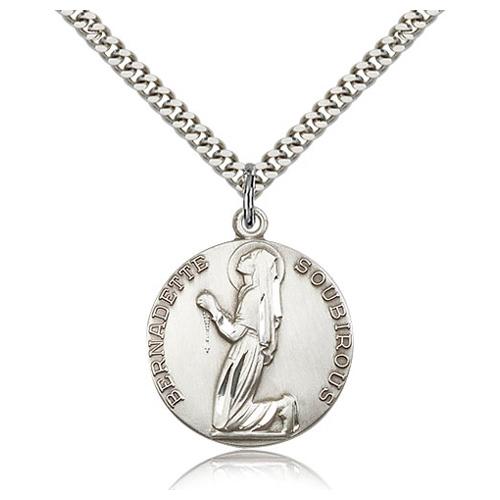 Sterling Silver 1in St Bernadette Medal & 24in Chain