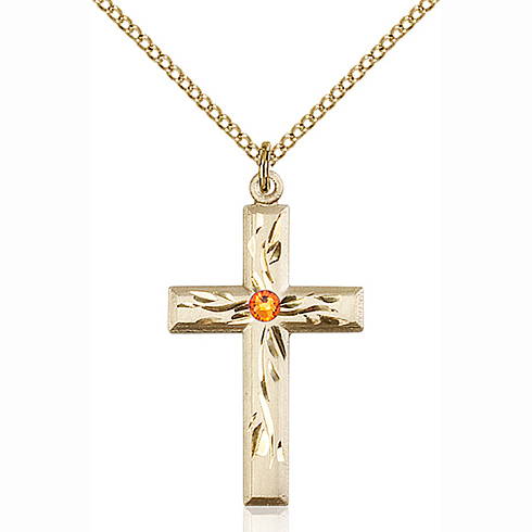 Gold Filled 1 1/8in Textured Cross Pendant Topaz Bead & 18in Chain