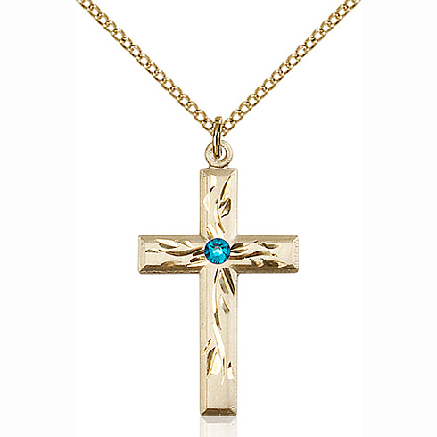 Gold Filled 1 1/8in Textured Cross Pendant Zircon Bead & 18in Chain