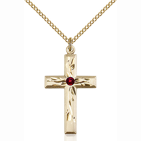 Gold Filled 1 1/8in Textured Cross Pendant with 3mm Garnet Bead & 18in Chain