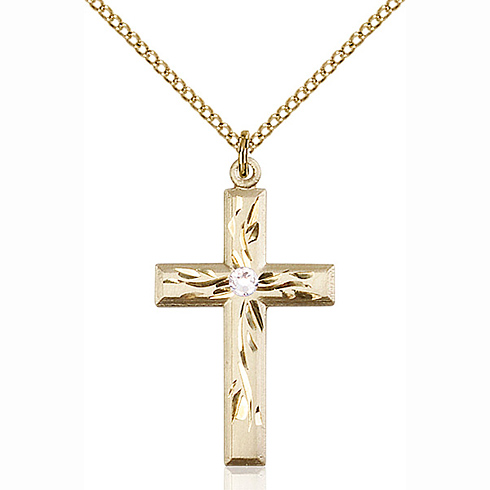 Gold Filled 1 1/8in Textured Cross Pendant with 3mm Crystal Bead & 18in Chain