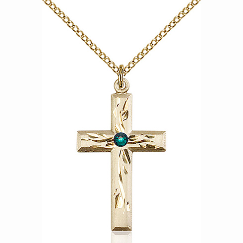 Gold Filled 1 1/8in Textured Cross Pendant Emerald Bead & 18in Chain