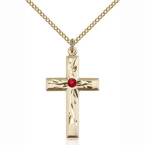 Gold Filled 1 1/8in Textured Cross Pendant with Ruby Bead & 18in Chain