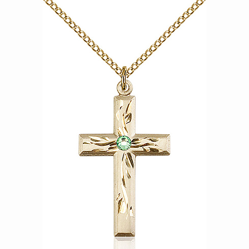 Gold Filled 1 1/8in Textured Cross Pendant with 3mm Peridot Bead & 18in Chain