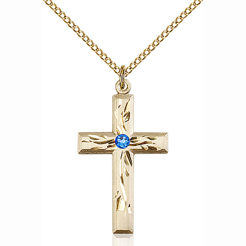 Gold Filled 1 1/8in Textured Cross Pendant with 3mm Sapphire Bead & 18in Chain