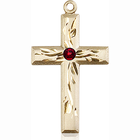 14kt Yellow Gold 1 1/8in Textured Cross with 3mm Garnet Bead