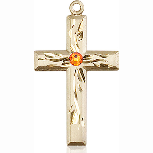 14kt Yellow Gold 1 1/8in Textured Cross with 3mm Topaz Bead