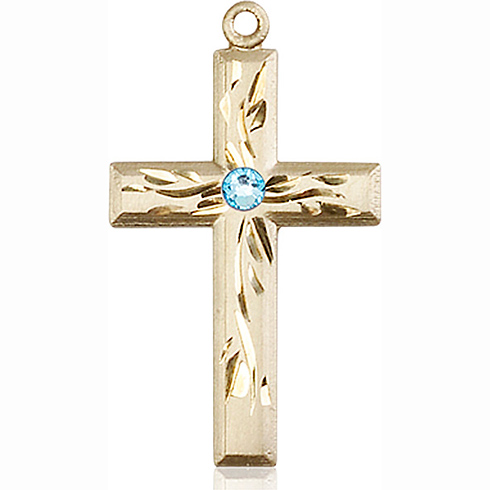 14kt Yellow Gold 1 1/8in Textured Cross with 3mm Aqua Bead