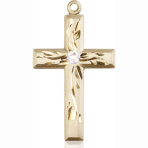 14kt Yellow Gold 1 1/8in Textured Cross with 3mm Crystal Bead