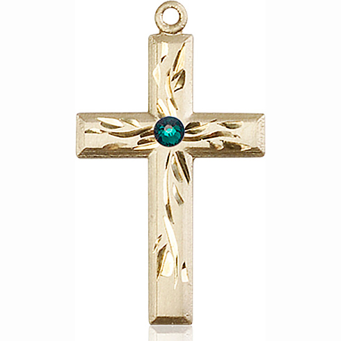 14kt Yellow Gold 1 1/8in Textured Cross with 3mm Emerald Bead