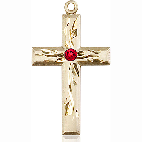14kt Yellow Gold 1 1/8in Textured Cross with 3mm Ruby Bead