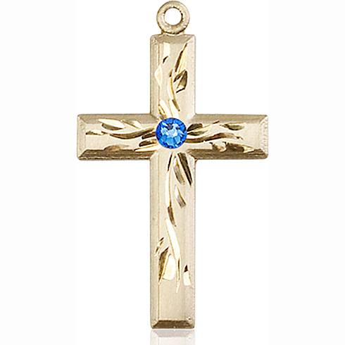 14kt Yellow Gold 1 1/8in Textured Cross with 3mm Sapphire Bead