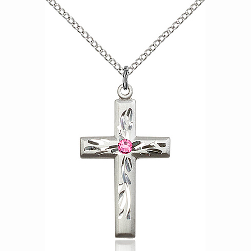 Sterling Silver 1 1/8in Textured Cross Pendant with 3mm Rose Bead & 18in Chain