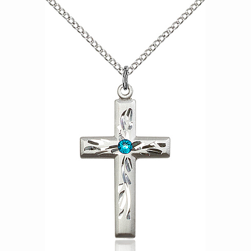 Sterling Silver 1 1/8in Textured Cross Pendant with 3mm Zircon Bead & 18in Chain