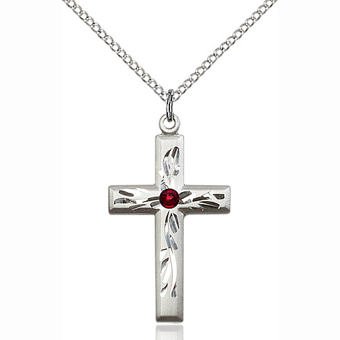 Sterling Silver 1 1/8in Textured Cross Pendant with 3mm Garnet Bead & 18in Chain