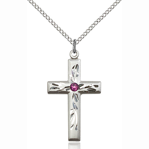 Sterling Silver 1 1/8in Textured Cross Pendant with 3mm Amethyst Bead & 18in Chain