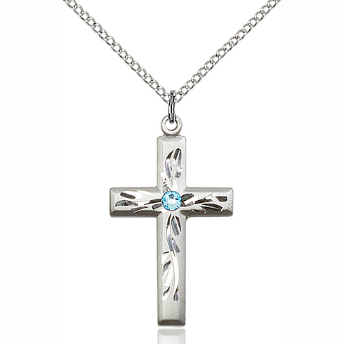 Sterling Silver 1 1/8in Textured Cross Pendant with 3mm Aqua Bead & 18in Chain