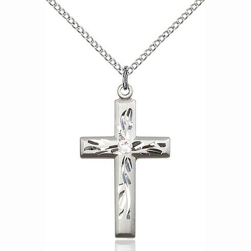Sterling Silver 1 1/8in Textured Cross Pendant with 3mm Crystal Bead & 18in Chain