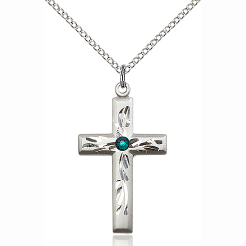 Sterling Silver 1 1/8in Textured Cross Pendant with 3mm Emerald Bead & 18in Chain