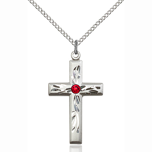 Sterling Silver 1 1/8in Textured Cross Pendant with 3mm Ruby Bead & 18in Chain