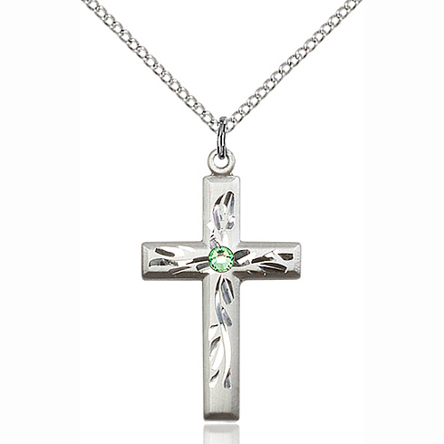 Sterling Silver 1 1/8in Textured Cross Pendant with 3mm Peridot Bead & 18in Chain