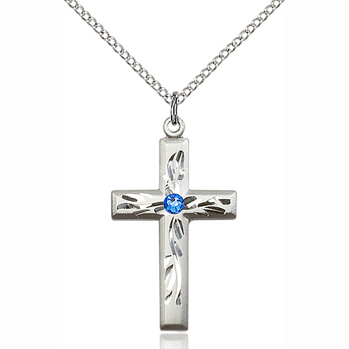 Sterling Silver 1 1/8in Textured Cross Pendant with 3mm Sapphire Bead & 18in Chain
