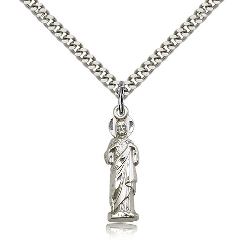 Sterling Silver 1in Sacred Heart Pendant & 24in Chain