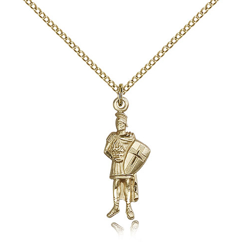 Gold Filled 1in St Florian Pendant & 18in Chain
