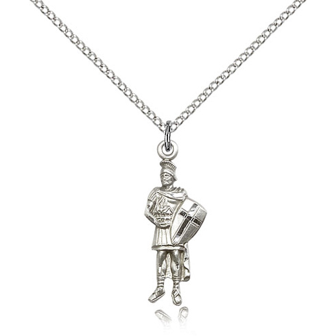 Sterling Silver 1in St Florian Pendant & 18in Chain