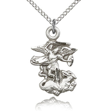 Sterling Silver 7/8in St Michael Dragon Pendant & 18in Chain